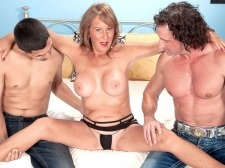 Trisha gets ass-fucked by two lads and swallows