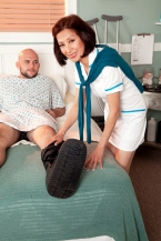 Nurse Kim heals the sick, copulates the mammoth hard-on